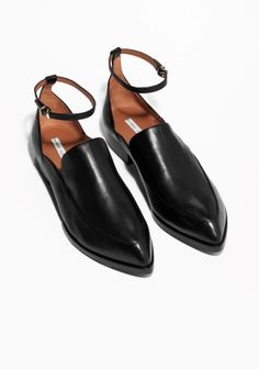 & Other Stories image 2 of Ankle Strap Leather Loafers in Black