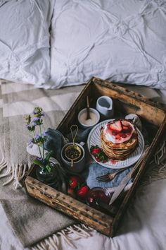 Epic Mother's Day Ideas | Surprise Mom with an indulgent breakfast in bed. Doesn't this stack of homemade pancakes dripping with strawberry rhubarb syrup make your mouth water? @stylecaster | Presented by Coach