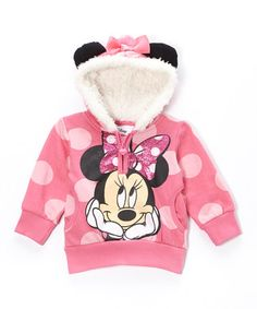 Look what I found on #zulily! Pink Polka Dot Minnie Zip-Up Hoodie - Toddler…