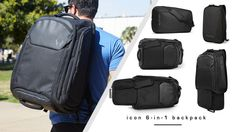 Backpack converts to: extended backpack, small duffle, extended duffle, daypack w/ laptop sleeve, messenger bag w/ laptop sleeve.