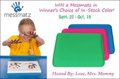Enter the Messmatz Giveaway and get a chance to win a Messmatz in a color of your choice! Open to U.S. and Canada only.
