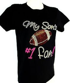 bling t shirts for women | Rhinestone Football Mom My Son's 1 Fan T Shirt Women s M L XL 2XL 3XL ...