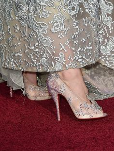 "Shoe detail of actress Lily James in Christian Louboutin heels during the premiere of Disney's ""Cinderella"" on March 1, 2015"