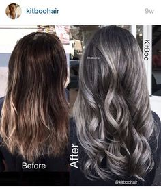 Are you looking for ombre hair color for grey silver? See our collection full of ombre hair color for grey silver and get inspired! Grey Balayage, Balayage Hair, Brown Hair With Silver Highlights, Dark Silver Hair, Silver Ombre, Brunette Highlights, Color Highlights, Balayage Highlights, Silver Color