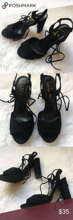 Lulu's black strap up heels- size 8 Never worn Lulu's Shoes Heels