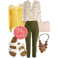 In this outfit: As Far as Chime Concerned Top in Floral, Myrtlewood A Chic Start Pants in Olive, Paris Cafe Cardigan in Jaune, Chic to Chic Clutch, Disc-y Business Necklace, Strappy Camper Sandal in White