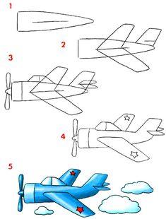 Как нарисовать самолёт.