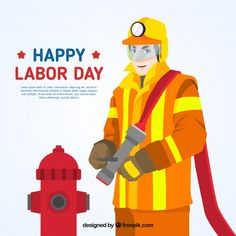 Labor day background with fireman. Download thousands of free vectors on Freepik, the finder with more than 3 millions free graphic resources Yellow Theme, Labour Day, Happy Labor Day, Couple Cartoon, Happy People, Business Women, Workplace, Vector Free, How To Draw Hands