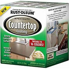 Rust-oleum 246068 - QT Interior Countertop Coating Tintable To 16 Colors 1 Part System Painting Laminate Countertops, Countertop Kit, Kitchen Countertop Materials, Diy Countertops, Countertop Makeover, How To Restain Kitchen Cabinets, Paint Formica, Rustoleum Countertop Transformations, Pallet Ideas