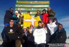 PE503 The Lucky 13, 18th January 2014: What do we say? We say a huge CONGRATULATIONS !! 12 of the The Lucky 13 summited Kilimanjaro at 5895m with www.privateexpeditions.com/kilimanjaro