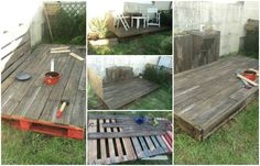100% repurposed, Pallet deck #Garden, #Pallets, #Recycled, #Terrace