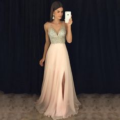Sexy V-Neck Side Slit Prom Dress with Beadings Custom Made Fashion Beaded Chiffo. Sexy V-Neck Side Slit Prom Dress with Beadings Custom Made Fashion Beaded Chiffon Long Evening Dresses Prom Dresses Formal Dresses For Teens, Cute Prom Dresses, V Neck Prom Dresses, Beaded Prom Dress, Beaded Chiffon, Elegant Dresses, Homecoming Dresses Long, Maxi Dresses, Junior Prom Dresses
