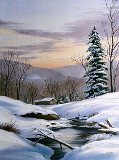 Painting Snow, Winter Painting, Winter Art, Winter Scene Paintings, Watercolor Landscape, Landscape Art, Landscape Paintings, Watercolor Paintings, Landscape Pictures