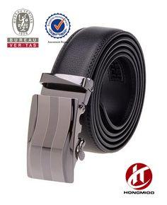 Men's Leather Belt Sliding Buckle 35mm Ratchet Belt Black