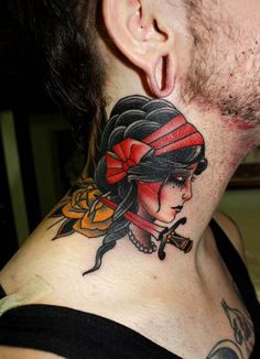 American Traditional gypsy with dagger and yellow rose // neck tattoo // Herb Auerbach Hand Tattoos, Mädchen Tattoo, Tribal Tattoos, Tattoo Hals, Tattoo Motive, Cover Tattoo, Body Tattoos, Sleeve Tattoos, Neck Tattoos