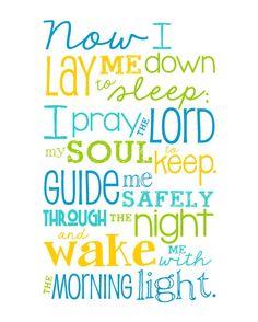 Now I Lay Me Down to Sleep Prayer - 8x10 print - Bright Colored Boy - Lime, Aqua, Yellow, Blue