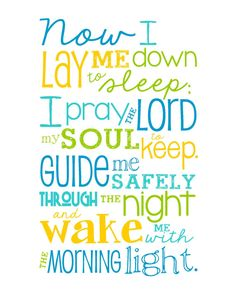 Now I Lay Me Down to Sleep Prayer - 8x10 print - Bright Colored Boy - Lime, Aqua, Yellow, Blue