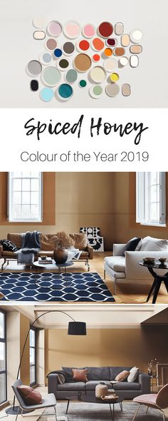 Dulux, the UK's leading paint brand, has revealed its coveted Colour of the Year for duly named Spiced Honey. Dulux Paint Colour Of The Year, Dulux Paint Colours 2019, Color Of The Year, Interior Design Studio, Interior Styling, Paint Brands, Home Organisation, Gold Interior, Minimalist Furniture
