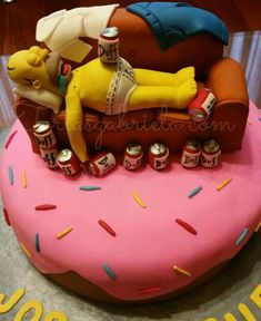 Birthday Art For Dad Party Ideas 50 Ideas Birthday Cakes For Men, Birthday Cupcakes, Crazy Cakes, Bolo Do Daniel, Bolo Simpsons, Simpsons Donut, Fondant Cakes, Cupcake Cakes, Funny Cake