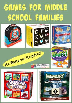 No Batteries Required: Games for Middle School Families @Education Possible Board games are educational and a great way to build family bonds.