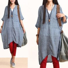 Retro Plus Size Clothing Loose Shirt Summer Linen Tunic Long Linen Blouse Modest Fashion, Hijab Fashion, Fashion Outfits, Womens Fashion, Simple Dresses, Casual Dresses For Women, Clothes For Women, Loose Dresses, Casual Wear