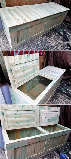 Look at the storage box, which can also serve as a bench if foam is placed over it. No one can judge that it is a box for storage if it is placed in the TV launch covered with a cloth. The pallets can be painted with any color if someone has decided to place this in the kid's room.