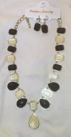 Black And Off-White Jewelry Earring Necklace Set Crystal Pendant, Necklace Set, Earring Set, Jewelry Sets, Chokers, Beaded Bracelets, Jewels, Chain, Crystals