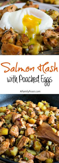 BREAKFAST Salmon Hash with Poached Eggs - Make a restaurant-quality brunch from the comfort of your own home! Fish Recipes, Seafood Recipes, Great Recipes, Cooking Recipes, Healthy Recipes, Seafood Meals, Favorite Recipes, Omelettes, Brunch Recipes