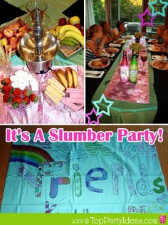 Sleepover Party with girls having an elegant casual dinner, chocolate fountain dessert and pillow case craft