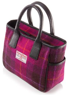 Belle Harris Tweed and Leather Handbag in Cerise Check Harris Tweed, Quilted Purse Patterns, Denim Tote Bags, Handmade Bags, Handmade Leather, Fabric Bags, Beautiful Bags, Leather Handbags, Leather Bags