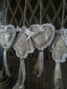 Lieve kerst hangers wit/creme/taupe
