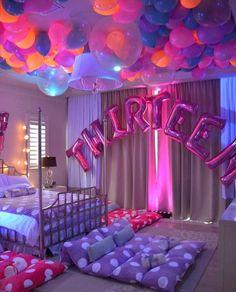 Sleepover Birthday Parties, Fun Sleepover Ideas, Girl Sleepover, Birthday Party For Teens, Birthday Party Decorations, Cake Birthday, Happy Birthday, Birthday Greetings, Birthday Balloons