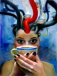 Coffee makes me happy, coffee makes me sad. I like mine with cream and honey. Happy Coffee, I Love Coffee, My Coffee, Coffee Girl, Coffee Break, Coffee Cups, Coffee Artwork, Coffee Painting, Coffee Zone