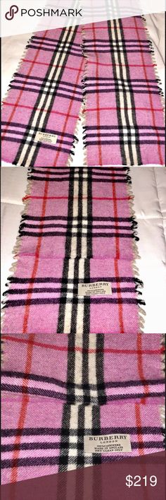 Burberry 100% Cashmere Scarf Authentic Pink Nice • Pre owned in good condition  • Burberry Women's Classic Cashmere Scarf • 100% cashmere • Rectangular • 140 x 18 cm • Fringing at both ends.  • Made in England • Burberry Unisex • Comes from a smoke free and pet free home. Burberry Accessories Scarves & Wraps