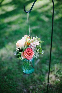 simple mason jar ceremony arrangements