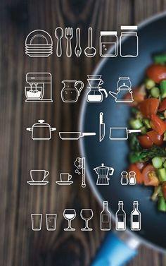 Küchengerätschaften aller Art, verfügbar als AI-, PSD- oder PNG-File bei oxygenna, einer kleinen Designagentur aus Griechenland.