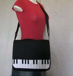 Messenger Bag with Piano Key Detail and adjustable by sazbags