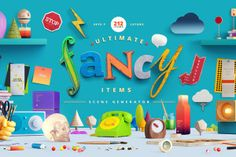 "This awesome design is a free version of ""Fancy Items Scene Generator"" that comes with big, high quality items for creating beautiful headers and hero images.  The pack also includes 2 tools:  Bevelizator: a special mock-up to help you create beveled text for placing on the wall.  Shadow Converter: a simple and useful tool for converting shadows.  Thanks to Lstore for providing this. Don't forget to check out the full version of Fancy Items Scene Generator here. Screenshots"