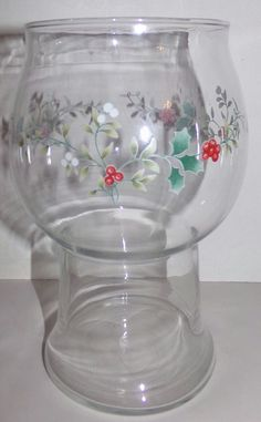 Pfaltzgraff Christmas Glass Floating Candle Holder Winterberry 1993 #Pfaltzgraff