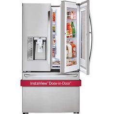 Suit all your household needs by using this LG Electronics French Door Refrigerator with InstaView Door-in-Door in Stainless Steel Counter Depth.