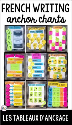 French classroom decor - French anchor charts for writing les tableaux d'ancrage – French classroom decor How To Speak French, Learn French, French Classroom Decor, Teaching French Immersion, French Flashcards, French Worksheets, High School French, French Teaching Resources, Teaching Spanish