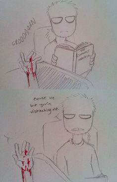 But I'm bleeding!!!! HALP MAN!!!!!!! *shakes mah paw* EHHHHH!!!!!!!!!!!!! *takes the book and throwz it away*