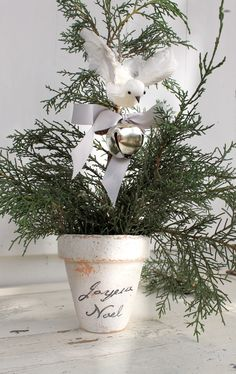 White wash a teracotta pot and add a Christmas message  http://www.gailmccormack.com/catalog.php?item=1737=16=catalog.php%3Fcategory%3D16