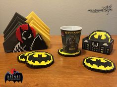 Batman The Animated Series : Napkin holder and coaster set - Perler Beads Creations by RockerDragonfly.