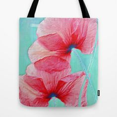 Poppies(delicacy). Tote Bag by Mary Berg - $22.00 #totebags #society6 #poppies #pink #blue #flowers #women