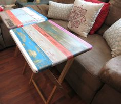 Painted thrift store TV tables and other tips for creating a beautiful home on a budget.