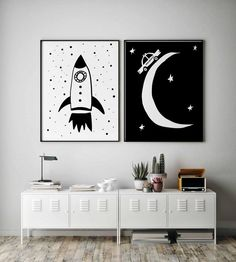 For Toddler Room Decor, Instant Download This Space Wall Art Set of 2 Prints in Black and White is for a fast and easy set up of Toddler Boy Room Decor. #spaceprint #setof2prints #monochromenursery #rocketwallart