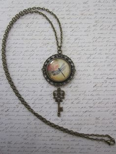 Dragonfly/Rose Vintage Glass Filigree Pendant Necklace With Antique Brass Key Charm