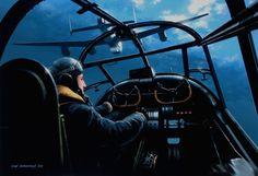 """El Escuadrón 617 vuela sobre la cuenca del Ruhr, por Ivan Berryman.  Visto desde la cabina del piloto de un Lancaster del Escuadrón 617 """"Dambusters"""" vuela en formación hacia el Valle del Ruhr en la noche del 16 de mayo 1943, cuando las presas Möhne y Eder se rompieron bajo el nombre en clave de Operación Chastisse."""