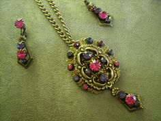 Vintage St. Labre pendant and earrings